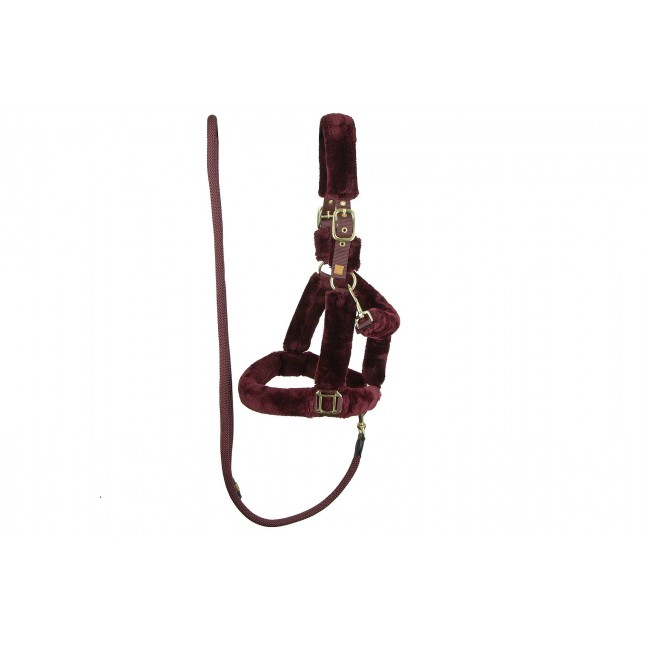 PS of Sweden Fluffy halter + lead rope, Wine