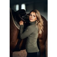 Equestrian Stockholm Knitted Polo Top Golden Olive