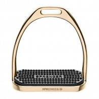 Sprenger Fillis Stirrups Gold - Stainless Steel Size 120 Mm With Black Rubber Pad