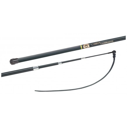 Fleck 4-in-Hand-Training-Whip, Carbon Composite, 4-Part Telescopic, Brass-Top, Flat Leather Lash