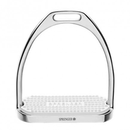 Sprenger Fillis Stirrups - Stainless Steel, With White Rubber Pad
