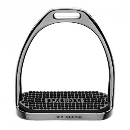 Sprenger FILLIS Stirrups - Stainless Steel Anthracite Size 120 mm With Black Rubber Pad