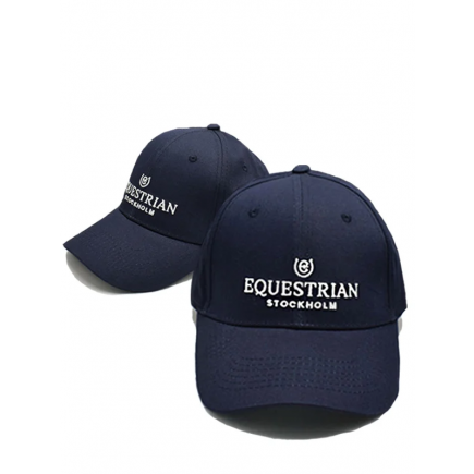Equestrian Stockholm Cap Navy White Cotton
