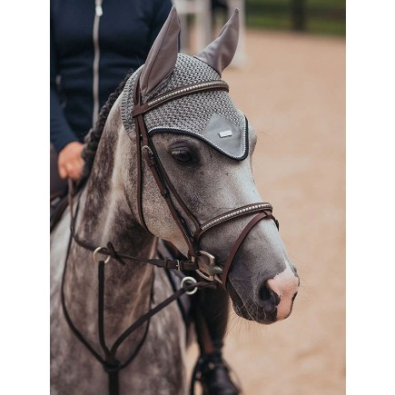 Equestrian Stockholm Ear Net Crystal Grey Color