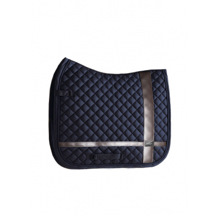 Equestrian Stockholm Dressage Saddle Pad Leather Deluxe Silver COB