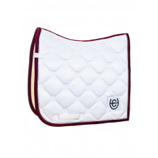 Equestrian Stockholm Dressage Saddle Pad White Perfection Bordeaux